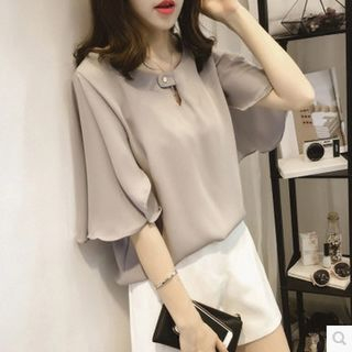 Flutter-Sleeve Chiffon Blouse from Sienne