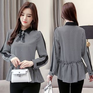Houndstooth Chiffon Blouse from Sienne