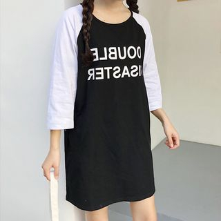 Lettering 3/4-Sleeve T-Shirt Dress from Sienne