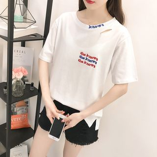 Lettering Embroidered Ripped Short-Sleeve T-Shirt from Sienne