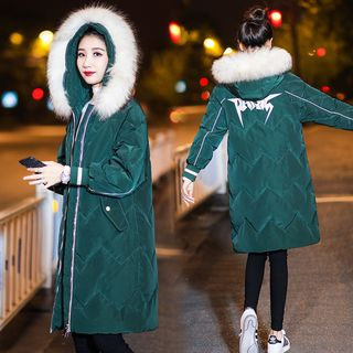 Lettering Furry Hood Padded Coat from Sienne