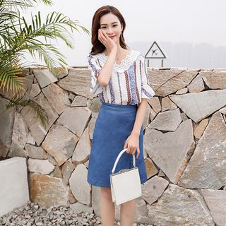 Set: Lace Trim Elbow-Sleeve Top + Denim A-line Skirt from Sienne