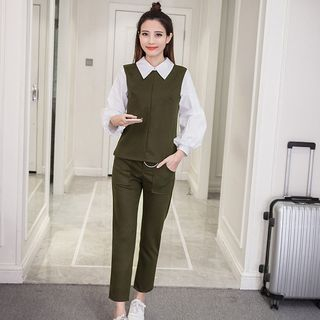 Set: Long-Sleeve Blouse + Plain Pants from Sienne