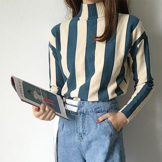 Striped High Neck Sweater from Sienne