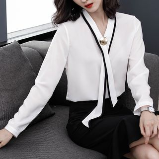 Tie-Neck Long-Sleeve Chiffon Blouse from Sienne