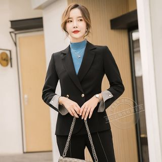 Double-Breasted Blazer / Boot-Cut Dress pants / Set from Skyheart
