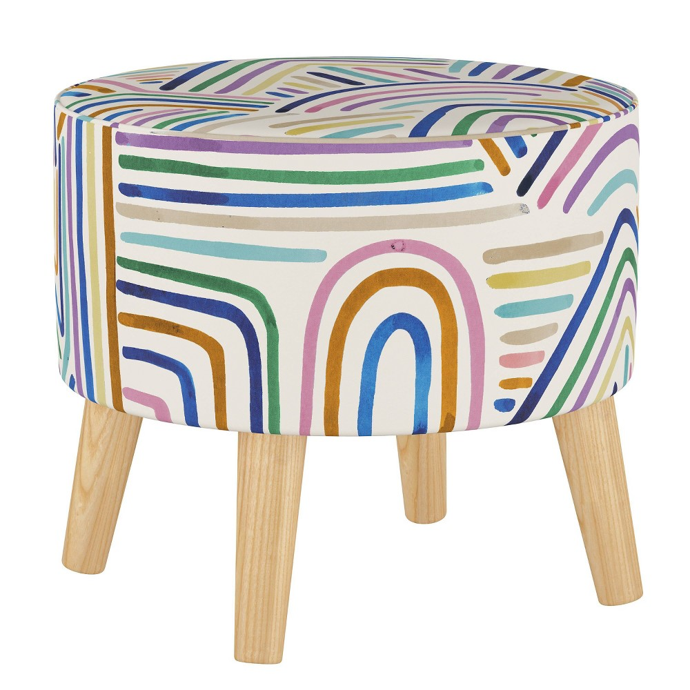 Round Ottoman with Splayed Legs Rainbow Strokes Ochre - Skyline Furniture from Skyline Furniture