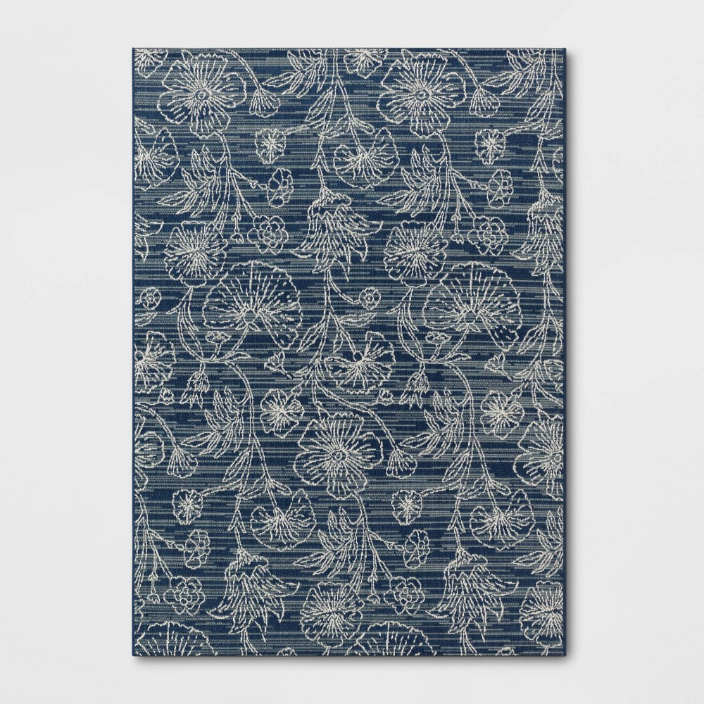 6' x 9' Outdoor Rug Traced Floral Blue - Smith & Hawken from Smith & Hawken
