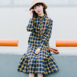 Long-Sleeve Mock Collar Plaid Midi A-Line Dress from Snow Angel