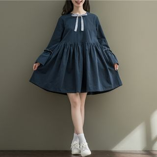 Bow Detail Long-Sleeve A-Line Dress from Snow Flower
