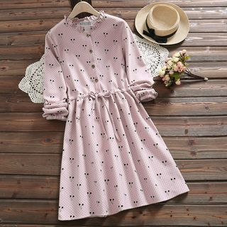 Cherry Printed Long-Sleeve A-Line Dress from Snow Flower