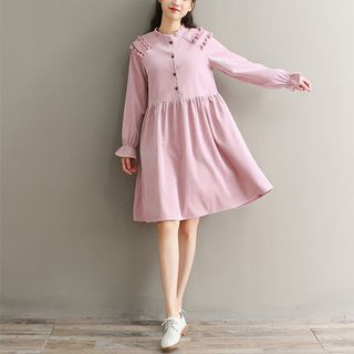 Corduroy Long-Sleeve A-Line Dress from Snow Flower