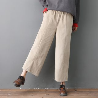 Corduroy Wide-Leg Cropped Pants from Snow Flower