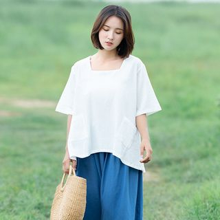 Elbow-Sleeve Square-Neck Top from Snow Flower