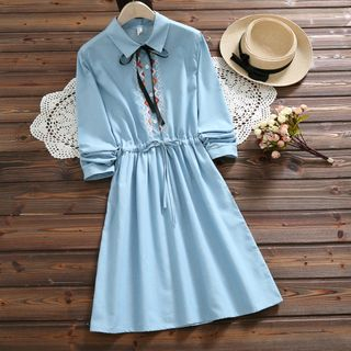 Embroidered Long-Sleeve Gathered-Waist Denim Dress from Snow Flower