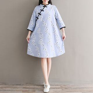 Floral Print 3/4 Sleeve Qipao from Snow Flower