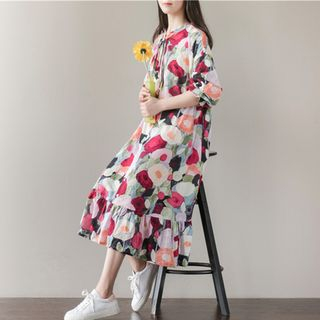 Floral Print Long-Sleeve Dress from Snow Flower