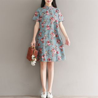 Floral Print Short-Sleeve Dress from Snow Flower