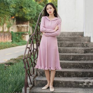 Knitted Long-Sleeve A-Line Dress from Snow Flower