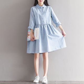 Long-Sleeve Plaid Collared Dress from Snow Flower