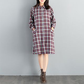 Long-Sleeve Plaid Shirtdress from Snow Flower
