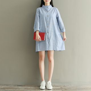 Long-Sleeve Striped Ruffled Stand-collar Shirtdress from Snow Flower