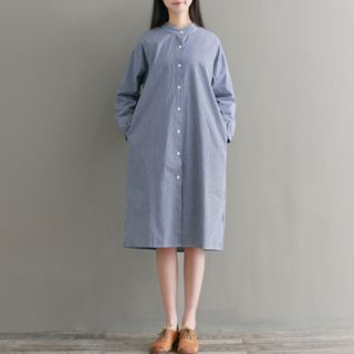 Long-Sleeve Striped Shirtdress from Snow Flower