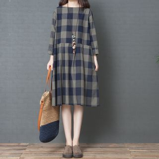 Plaid 3/4-Sleeve A-Line Dress from Snow Flower
