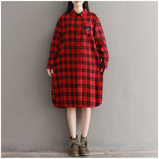 Plaid Cat Long Shirt from Snow Flower