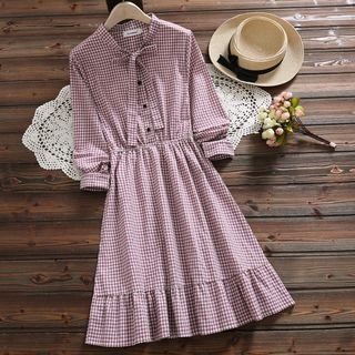 Plaid Long-Sleeve Gathered-Waist Dress from Snow Flower