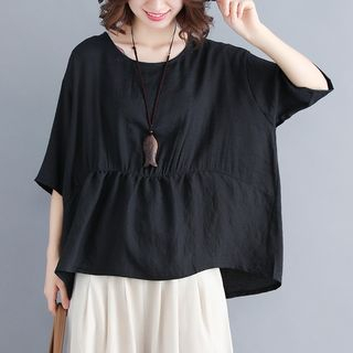Plain Batwing Short-Sleeve Top from Snow Flower