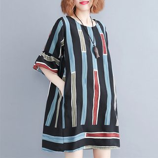 Ruffled Elbow-Sleeve Print Dress from Snow Flower
