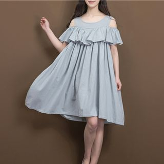 Short-Sleeve Shoulder Cut Out A-line Dress from Snow Flower