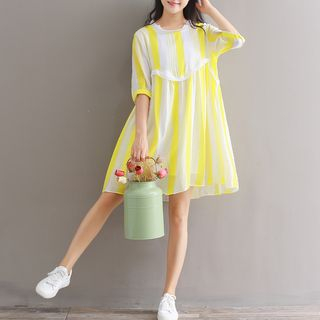 Striped Elbow-Sleeve A-Line Dress from Snow Flower