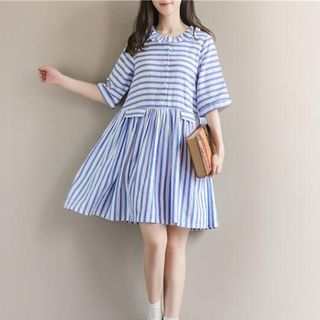 Striped Elbow Sleeve Dress from Snow Flower
