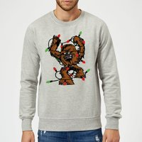 Star Wars Tangled Fairy Lights Chewbacca Grey Christmas Sweatshirt - M - Grey from Star Wars