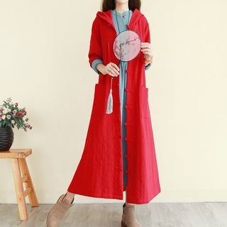 Embroidered Hooded Frog-Buttoned Long Jacket from Sturm
