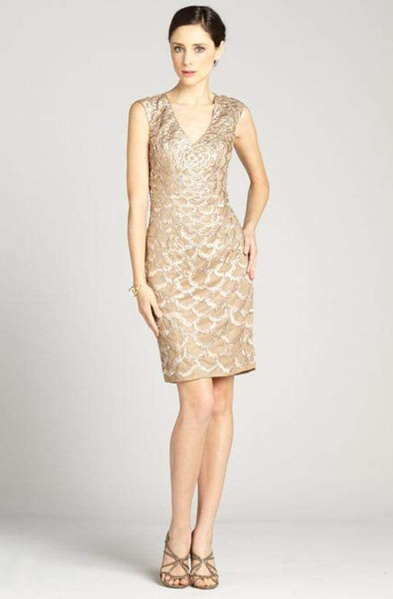 Sue Wong - N2330 Embroidered Scallop Motif Sheath Dress from Sue Wong