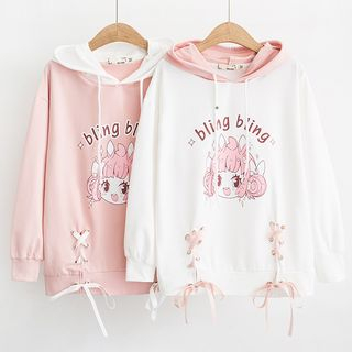 Cartoon Print Lace-Up Hoodie from Suzette