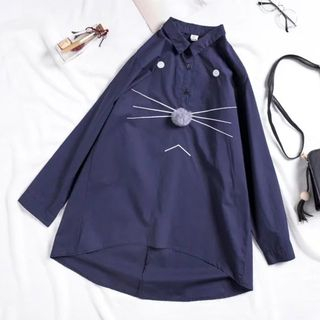 Cat Embroidered Long Shirt from Suzette