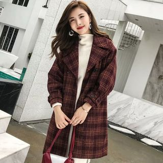 Double-Breasted Plaid Coat from Suzette
