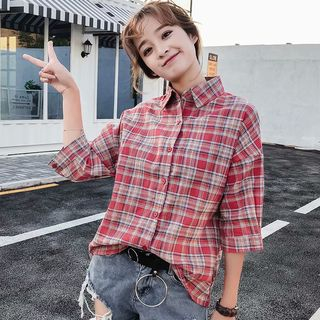 Elbow-Sleeve Plaid Shirt from Suzette