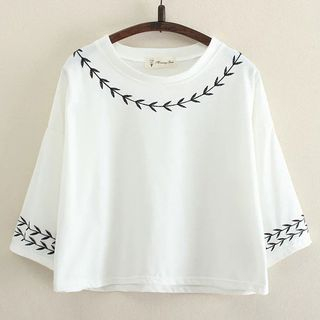 Embroidered 3/4-Sleeve T-shirt from Suzette