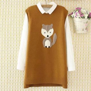 Fox Embroidered Knit Vest from Suzette