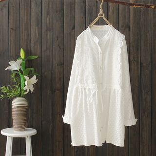 Long-Sleeve Tie-Waist Babydoll Top White - One Size from Suzette