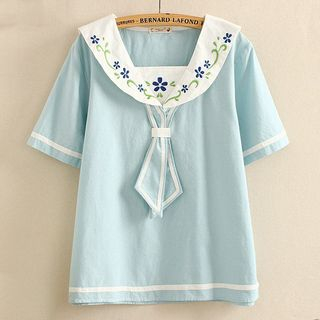 Sailor Collar Embroidered Short-Sleeve Top from Suzette