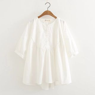 Short-Sleeve Perforated Babydoll Top White - One Size from Suzette