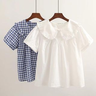 Short-Sleeve Peter Pan Collar Babydoll Top from Suzette