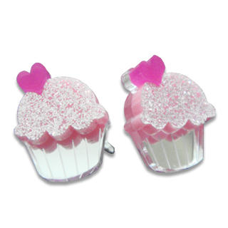 Sweet Glitter Pink Mirror Cupcake Stud Earrings from Sweet & Co.