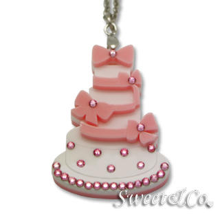 Sweet Pink dolly cake swarovski pendant silver necklace Pink - One Size from Sweet & Co.